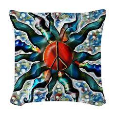 #Peace Sun i Woven Throw #Pillow on CafePress.com
