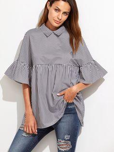 Romwe Striped Frill Sleeve Babydoll TopL Ruffle Shirt 0ef85c8fec