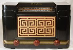Westinghouse H204 Vintage AM FM Tube Radio Black Bakelite 1948 FULLY RESTORED