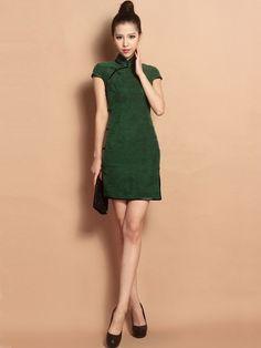 Green Custom Tailored Short Silk Qipao / Cheongsam Dress