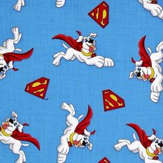 Cotton Fabric - Character Fabric - Krypto and Super Shields Super Friends Superdog