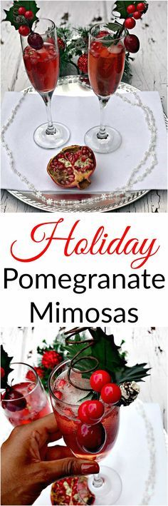 Pomegranate Holiday Mimosas are the perfect easy champagne cocktail for brunch, Thanksgiving, Christmas, New Years, parties, and events.