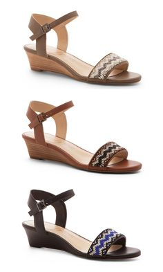 Beaded sandals with mini stacked wedges