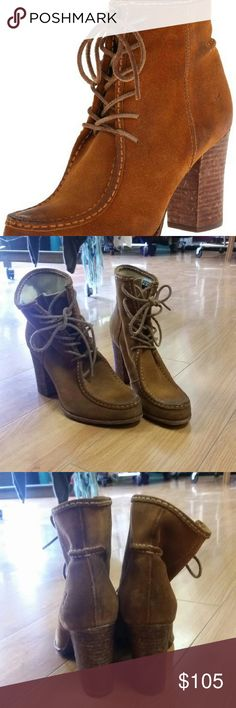 """Frye suede moccasin loafer heels These Fryes have only been worn a couple of times and they're gorgeous on! Heel is about 3.5"""". Frye Shoes Ankle Boots & Booties"""