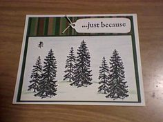 Man card? - stamped trees & tag with twine