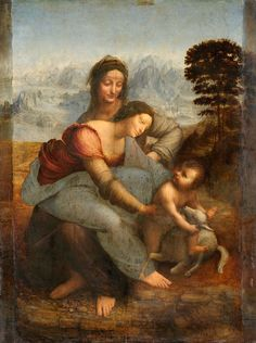 Leonardo da Vinci - Virgin and Child with St Anne C2RMF retouched - 聖アンナと聖母子 - Wikipedia