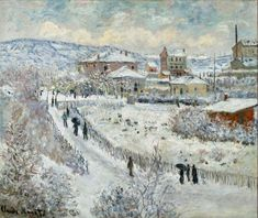 View of Argenteuil in the Snow Claude Monet Fecha: 1875 Estilo: Impresionismo Género: paisaje urbano Claude Monet, Pierre Auguste Renoir, Monet Paintings, Landscape Paintings, Artist Monet, Painting Snow, Painting Canvas, Canvas Art, Snow Art