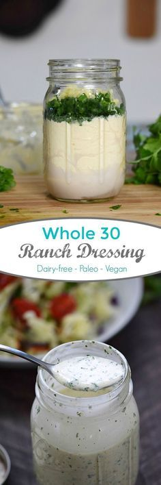 This is the best Whole 30 Ranch Dressing ever. Fresh and delicious flavor, and only takes minutes to make (Paleo Ranch Dressing) Dairy Free Recipes, Whole Food Recipes, Cooking Recipes, Healthy Recipes, Gluten Free, Whole30 Recipes, Vegetarian Cooking, Dairy Free Dinners, Vegetarian Recipes