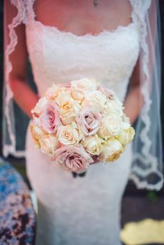 Ivory and Pink Round Rose Bouquet | Nine Zero Three Photography https://www.theknot.com/marketplace/nine-zero-three-photography-north-ridgeville-oh-590267