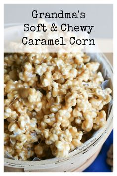 Soft Caramel Popcorn Grandma's Soft & Chewy Caramel Corn is what I grew up eating. This is a classic recipe that is a true Malad, Idaho treat! This no bake caramel corn is my favorite! Caramel Corn Recipes, Popcorn Recipes, Snack Recipes, Dessert Recipes, Snacks, Tailgating Recipes, Baking Recipes, Soft Caramel Popcorn, Caramel Mou