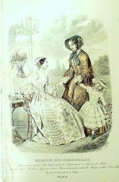 GRAVURE de MODE AUTHENTIQUE-F203-MAGASIN DEMOISELLES-ROBES DE CEREMONIE-1849