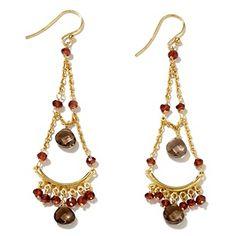 8.8ct Garnet and Smoky Quartz Chandelier Drop Earrings