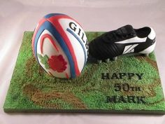 This was made for a friend who is rugby mad. Dino Cake, Dinosaur Cake, Rugby Cake, Rugby Pictures, Aniversary Cakes, Adult Birthday Cakes, 7th Birthday, Birthday Ideas, Rugby Sport