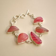 Handmade Pink Sardonyx and Silver Bracelet by MillingtonsGifts on Etsy