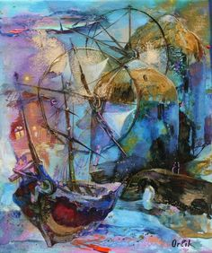 "Original Painting   Artist: Inna Orlik   Title: ""Mykonos Isle""  SIZE: 11.8x9,4 in(30x25cm) Greece Art, Athens Greece, Small Paintings, Original Paintings, Unique Art Projects, Acrylic Colors, Mykonos, Georgian, Picasso"