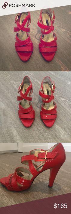 Aldo Castagna Italian patent leather strappy shoes Red patent leather strappy sandals, super comfortable, real Italian leather. Great condition. aldo castagna Shoes Heels