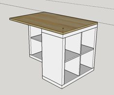 Work plan for central island - Ikea DIY - The best IKEA hacks all in one place Ikea Bookcase, Ikea Desk, Table Ikea, Craft Room Desk, Craft Room Storage, Diy Kitchen Island, Ikea Kitchen, Ikea Kallax Regal, Diy Furniture Plans Wood Projects