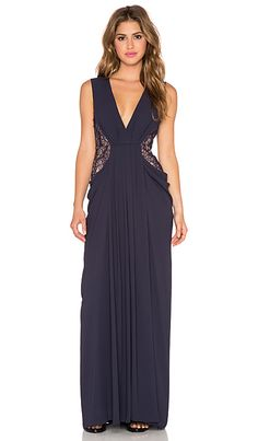 ❌SALE❌BCBGMAXAZRIA Kamara V Neck Gown in Dark Midnight | REVOLVE