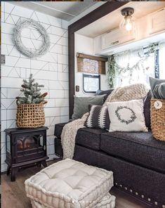 Rv Living, Living Room Sofa, Tiny Living, Glamping, Architecture Renovation, Trailer Decor, Travel Trailer Remodel, Rv Interior, Camper Makeover