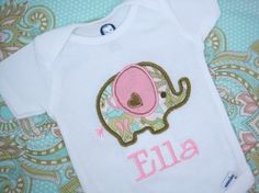Personalized Baby Girl Onesie  Elephant by sweettulipsboutique, $17.95. Uhohh, this just might get ordered! <3