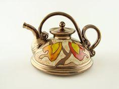 ceramic teapot pottery tea pots teapot stoneware by Avanturine Ceramic Teapots, Ceramic Cups, Ceramic Pottery, Red Teapot, Tea Pot Set, Chocolate Pots, Miniture Things, Stoneware, Tea Cups