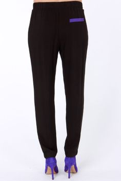 LULUS Exclusive Places to Be Blue and Black Pants at LuLus.com!