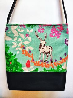 Deer and Flowers Fabric and Black Vinyl Purse