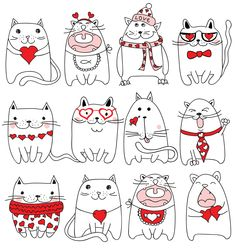 Drawing heart sketches valentines day Ideas for 2019 Valentine Doodle, Valentines Day Drawing, Valentine Day Crafts, Valentines Day Cat, Drawing Heart, Cat Drawing, Doodle Art, Diy Kawaii, Cute Cars