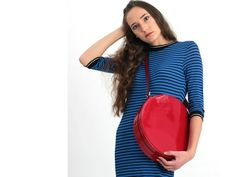 KARIKA big - circle crossbody bag, leather purse, leather bag, circle bag, round bag, circle purse, red leather bag, leather cross body bag #red #leather #tote #bag #fashion #style #gift #accessories Leather Crossbody Bag, Leather Purses, Leather Bag, Red Leather, Patent Leather, Circle Purse, Round Bag, Red Handbag, Leather Fashion