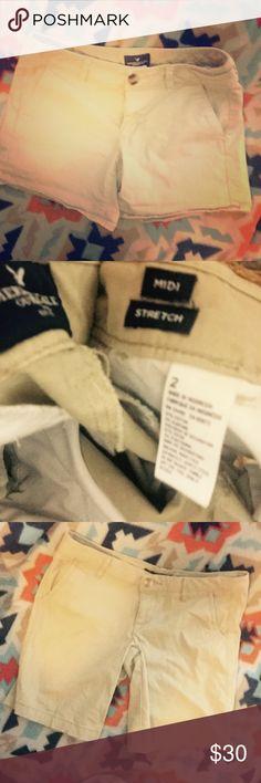 Three pair of khaki shorts sz 2/2/0 - AE & AERO American eagle sz 2 midi stretch $15 Aeropostale sz 2 Bermuda twill $8 American eagle sz 0 stretch $15  Or 30$ for all American Eagle Outfitters Shorts Bermudas