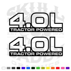 4.0 L Tractor Powered Jeep Stickers Vinyl Decals