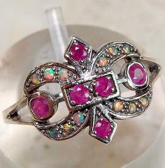 Genuine Ruby & Opal 925 Solid Sterling Silver Filigree Fleur-De-Lis Ring Sz 7 #OLDENGLISHSILVER