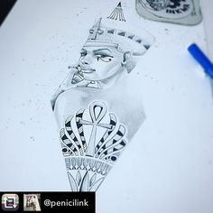 """98 Likes, 1 Comments - @inkwatattoos on Instagram: """"Repost from @penicilink using @RepostRegramApp - 2016 wrap up race #draw #drawing #nefertiti #queen…"""""""