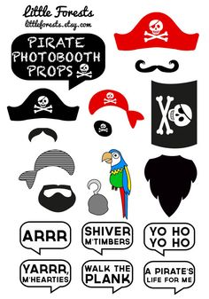 For photobooth/ guestbook- (would be good with ship captain hats, etc too) DIY Pirate Photo Booth Props  Moustaches Beards by littleforests, $5.00