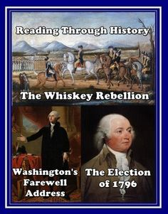 This is a three part unit by Reading Through History detailing the Whiskey Rebellion, Washington's Farewell Address, and the Election of 1796. Each lesson is followed by three pages of student activities which include multiple choice questions, guided reading activities, vocabulary questions, student summaries, and a student response essay question.