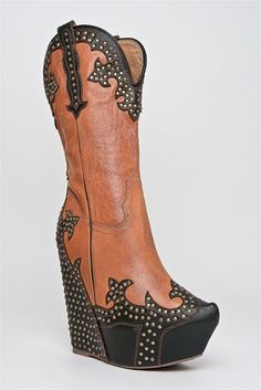 Jeffery Campbell Wedge Cowgirl Boot.. Not going to lie. I kind of like them.