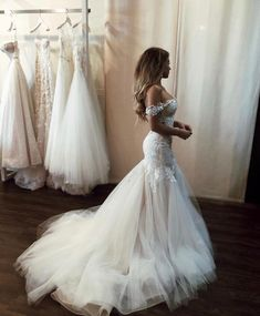 Charming Off Shoulder Mermaid Wedding Dress 2019 Vestido de noiva Lace Tulle Slim Fitted Sexy Backless Bridal Gowns Perfect Wedding Dress, Dream Wedding Dresses, Bridal Dresses, Dresses Dresses, After Wedding Dress, Drop Waist Wedding Dress, Fitted Wedding Dresses, Lace Fishtail Wedding Dress, Country Style Wedding Dresses