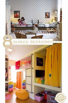 """Here are ideas on how to have siblings share a room, *especially* if they are opposite genders. Your kids can share a space while maintaining their own """"zones"""". #kidsroomideasshared"""