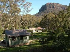 Cabins with Newnes Hotel in the background Go Camping, Campsite, Dog Friends, Cabins, Gazebo, Rv, To Go, Outdoor Structures, Holidays