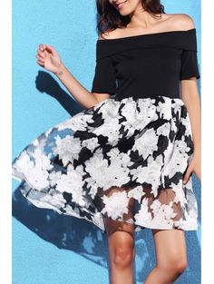 Off-The-Shoulder Summer Dress BLACK: Fall Dresses 2016   ZAFUL