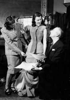 Vivien Leigh during a costume fitting with Cecil Beaton for Anna Karenina, 1947.