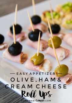 Easy Appetizers | Ham, Olive and Cream Cheese Roll Ups | Looking for some easy appetizers for your next social gathering? These Cream Cheese Roll Ups will be the first empty platter at the party!