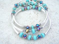 Three Bangle Memory Wire Bracelets, Turquoise Color, Glass Crystals
