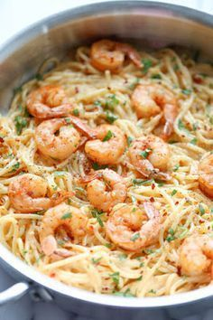 Garlic Shrimp Alfredo Pasta - a simple 35 minute dinner. Shrimp is cooked in butter and lots of garlic then combined with a homemade, very creamy 4 cheese Italian pasta sauce! Fish Recipes, Seafood Recipes, Cooking Recipes, Healthy Recipes, Recipies, Seafood Pasta, Easy Shrimp Pasta Recipes, Seafood Lasagna, Recipes Dinner