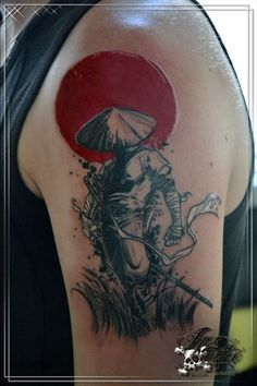 samurai tattoo tatuaggio red and black