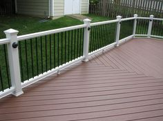 This deck was built in Arlington Virginia. We used low maintenance Trex Transcend decking and railing. The railing had low voltage rail post lighting and the decking was installed with a basketweave decking floor pattern. To finish things off a vinyl lattice skirt was also installed. In the spring a stone patio is planned.