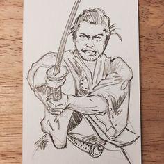Pencil sketch of Toshiro Mifune #yojimbo #illustration