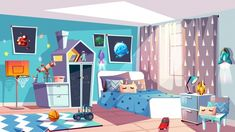 Buy Kid Boy Modern Room Interior Vector Illustration by vectorpouch on GraphicRiver. Kid boy room interior vector illustration of modern bedroom furniture in blue Scandinavian style. Anime Backgrounds Wallpapers, Anime Scenery Wallpaper, Animation Background, Cartoon Background, Vector Background, Modern Bedroom Furniture, Modern Room, Bedroom Modern, Casa Anime
