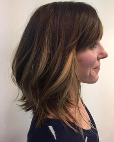 Long Brown Bob With Bangs And Highlights  | Get more style tips at 40plusstyle.com