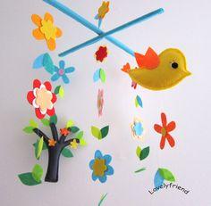 """Mobile -Baby Crib Mobile - Baby Mobile - Crib mobiles - Felt Mobile - Nursery mobile - """" Beautiful tree and flowers  """" Design. $78.00, via Etsy."""